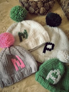 Knitted Monogrammed Pompom Hats