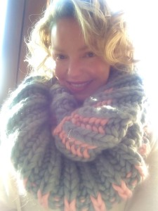 Katherine Heigl Modeling A Color Dipped Cowl