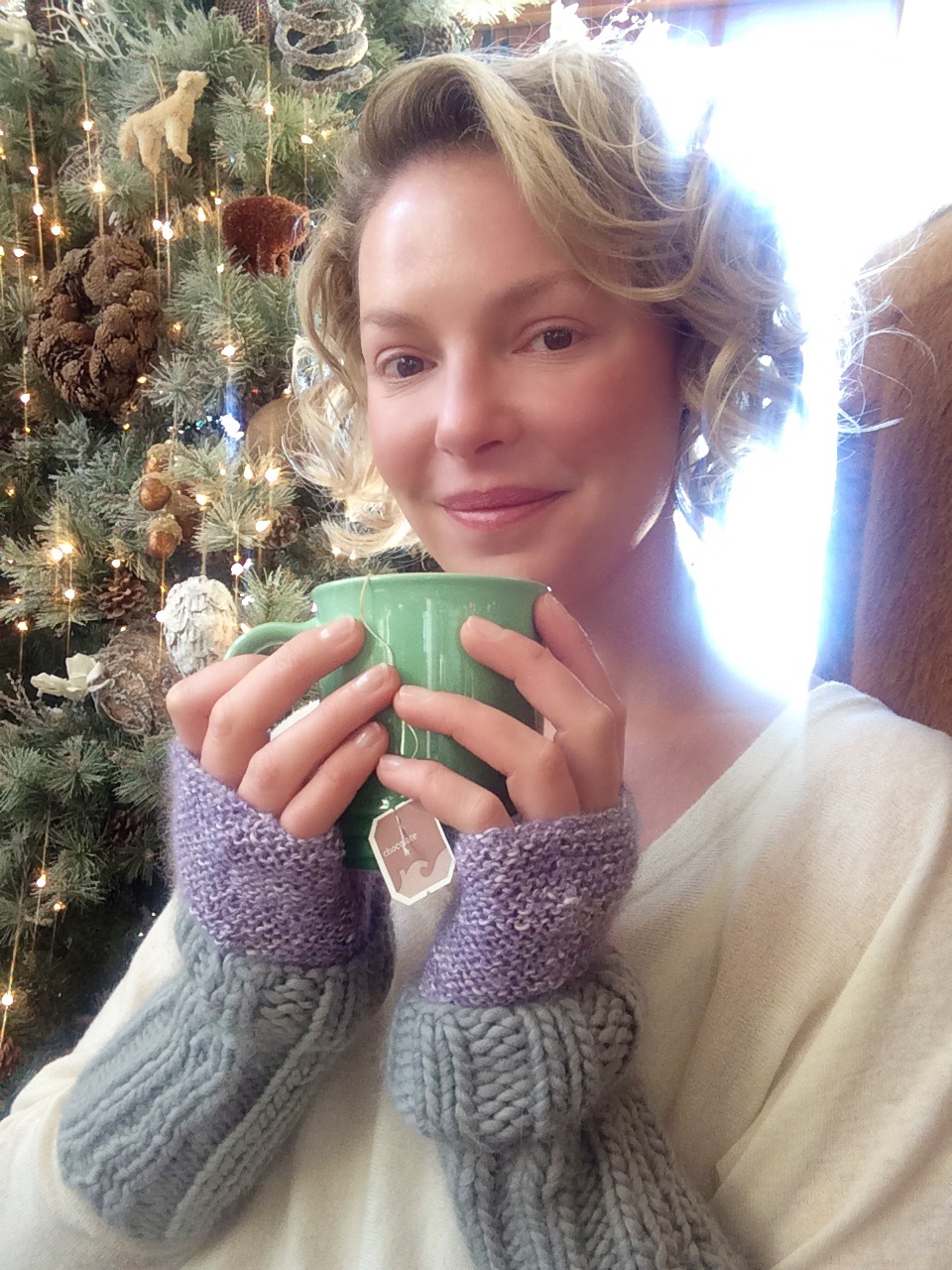 Katherine Heigl Wearing Her Hand Knit Cuffed Hand Warmers