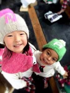 Naleigh & Adalaide Sporting Their Monogrammed Hats