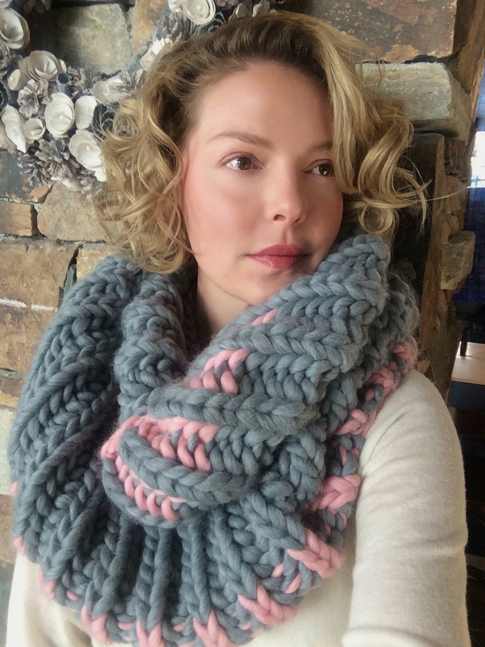 Katherine Heigl Modelling Her Color Dipped Cowl