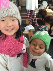 Naleigh & Adalaide Wearing Their Cozy Monogrammed Winter Hats