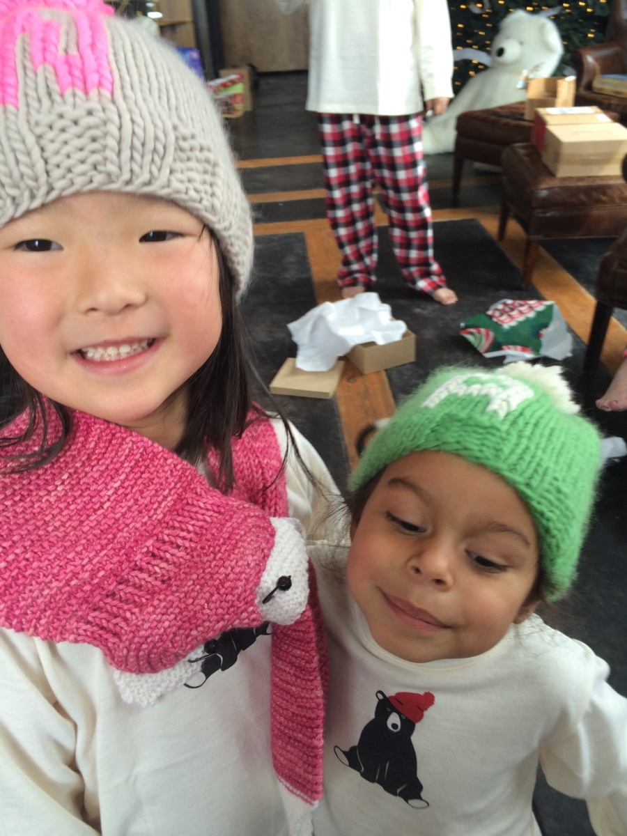 Naleigh & Adalaide Wearing Their Cozy Monogrammed Winter Hats