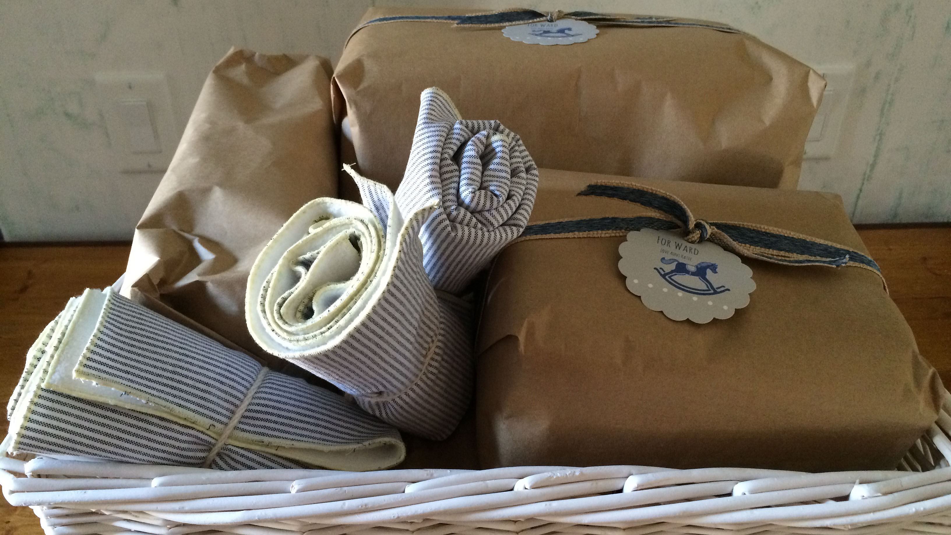 Baskets are always pretty and practical in a nursery.