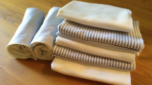 I chose a subtle yellow and a chambray blue stripe as my colors. I love the nautical vibe the two create together.
