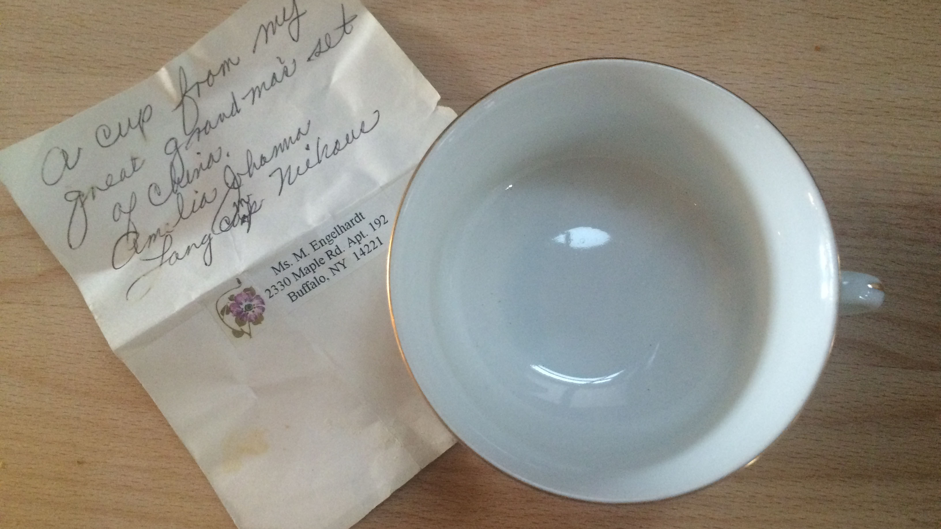 A tea cup and handwritten note from my Grandmother.