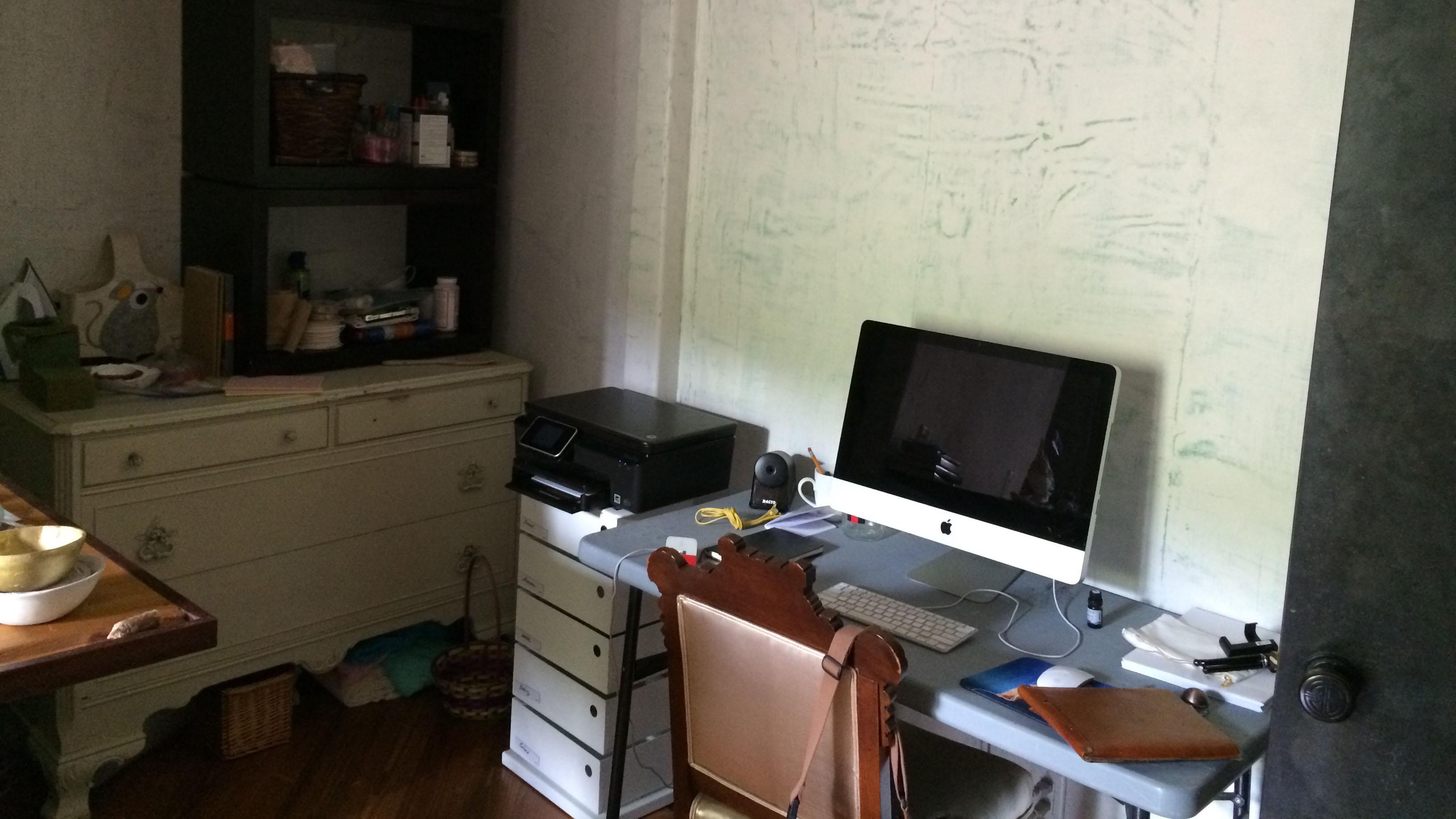 My original lackluster desk and craft supply area.