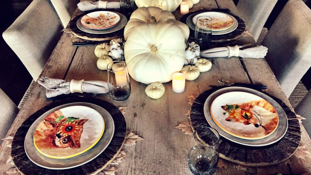 White gourds big and small with a few battery operated candles create the perfect simple, rustic fall centerpiece.