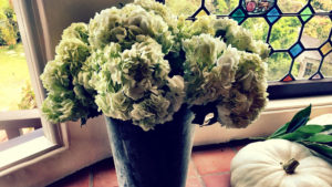 Hydrangea bucket window dressing