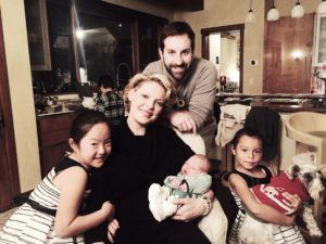 Katherine Heigl and Josh Kelley with children Naleigh, Adalaide and baby Joshua Jr.