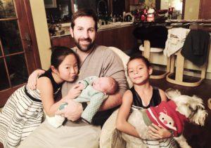 Josh Kelley with children Naleigh, Adalaide and baby Joshua Jr.