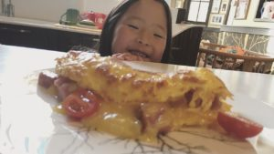 Naleigh went for the ham and cheese omelet