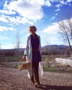 Katherine Heigl collecting eggs on her ranch