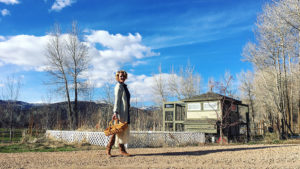 Katherine Heigl collecting eggs from the chicken coop on her ranch