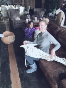 Katherine Heigl and daughter Naleigh with giant knitting needles and yarn