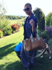 Katherine Heigl and her Prada straw diaper bag