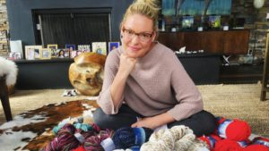 Katherine Heigl and yarns from her knitting basket