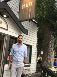 Josh Kelley outside the Persephone Bakery