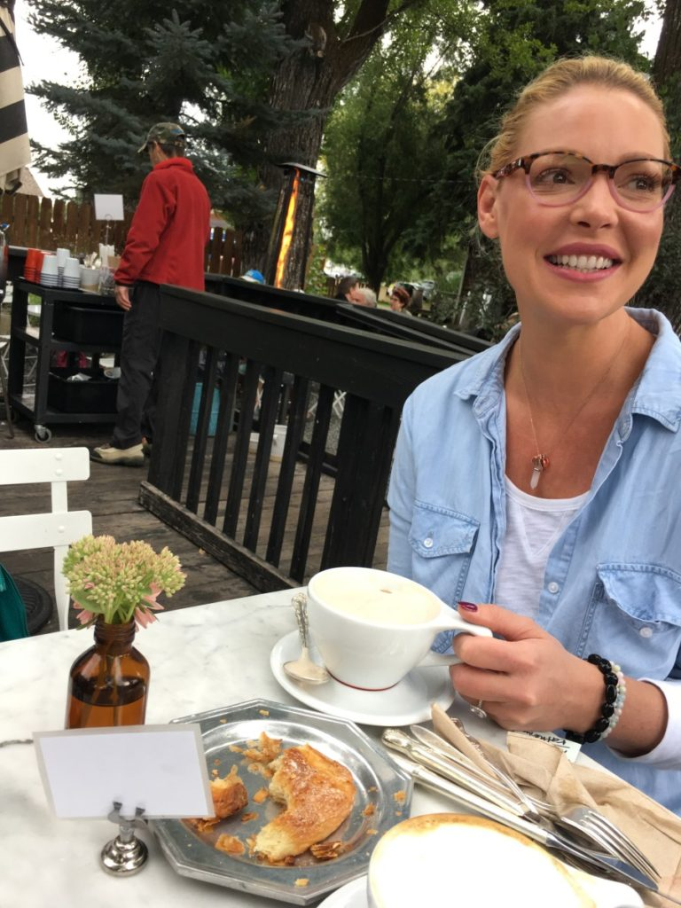 Katherine Heigl enjoying food and drinks at the Persephone Bakery in Jackson Hole