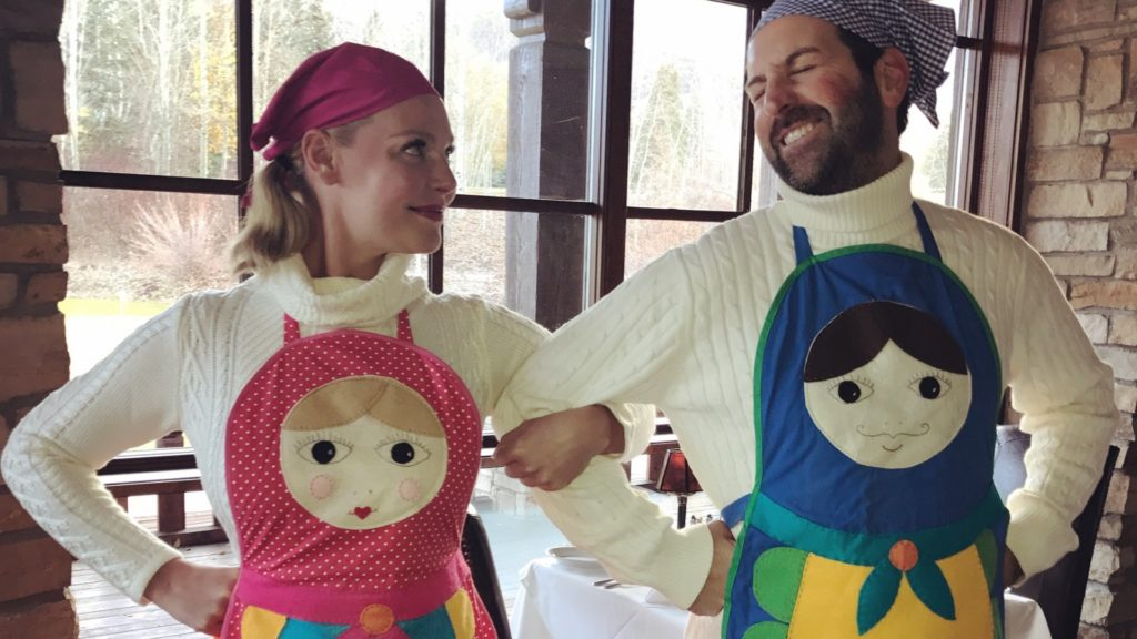 Katherine Heigl and Josh Kelley wearing Russian nesting doll costumes for Halloween