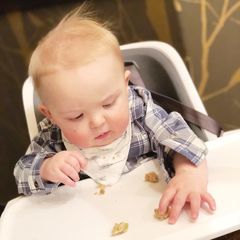 Little man was a big fan of his first taste of turkey!