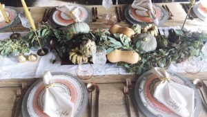 Thanksgiving dinner plates and settings