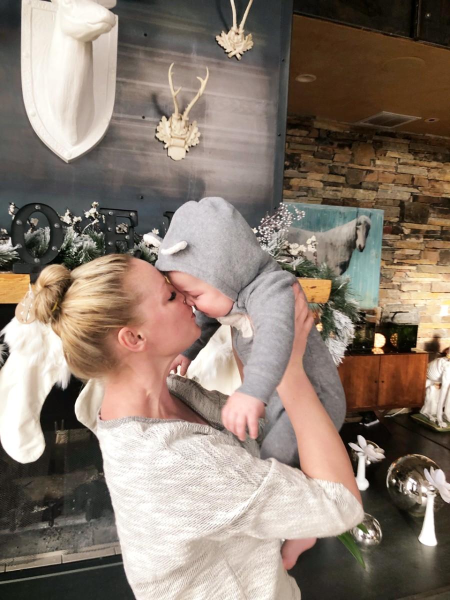 Katherine Heigl holding baby Joshua Jr.
