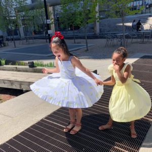 Naleigh and Adalaide wearing party dresses