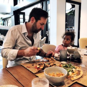 Josh Kelley and Adalaide eating at Planta Restaurant