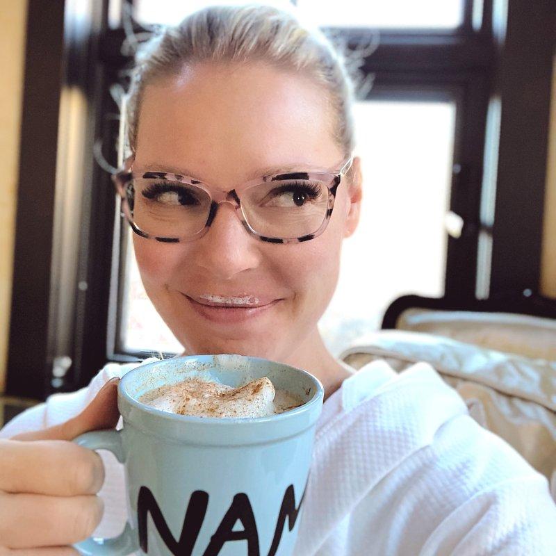 Katherine Heigl Drinking Matcha Chai Latte