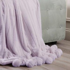 Ora Mink Faux Fur Pom Pom Throw Blanket