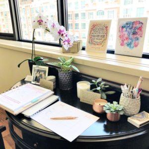 Desk, accessories and plant pots