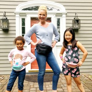 Adalaide, Katherine Heigl and Naleigh modeling their fanny packs