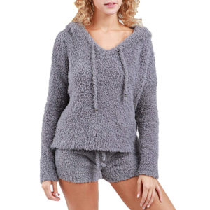 POL Clothing Women's Fuzzy and Soft Pullover Hoodie