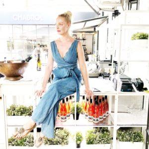 Katherine Heigl Wearing A Pilcro Denim Wide-Leg Jumpsuit