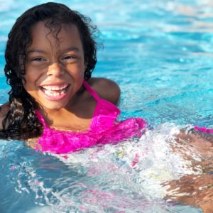 Adalaide enjoying time in the pool