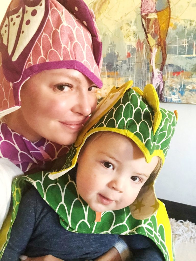 Katherine Heigl and Josh Jr. Sporting Dragon Costumes