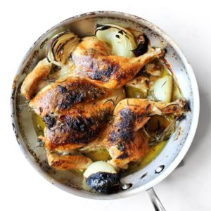 Spatchcocked Chicken With Braised Asparagus