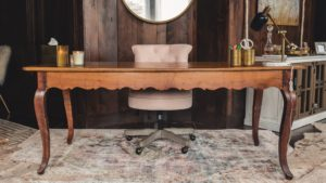Desk, Rugs, Gold And White Marble Kate Table Lamp