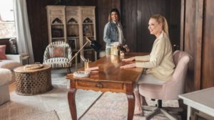 Katherine Heigl Surverying Her Worldmarket Office Makeover
