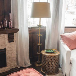 Brass Five Lotus Floor Lamp Base