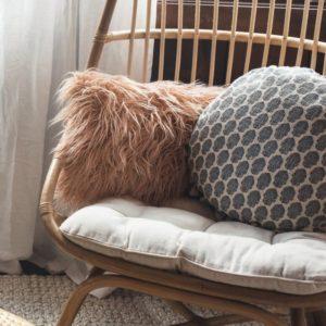 Oversized Blush Mongolian Faux Fur Lumbar Pillow and Round Blue Mandala Throw Pillow and