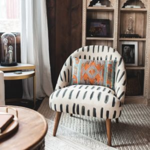 Charcoal Gray And Ivory Dash Print Noemi Tub Chair