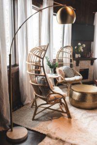 Brass Arc And White Marble Hayden Floor Lamp