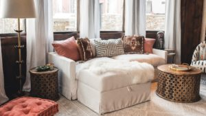 Ivory Feather Filled Brynn Sofa and Storage Ottoman